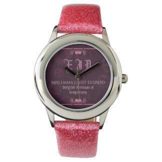 Pink Steampunk Monogram, metallic hearts, cogs Watch