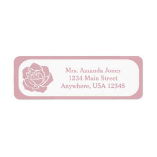 Pink Stencil Rose | Personalized Return Address Label