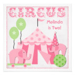 Pink Step Right Up Circus Birthday Invitations