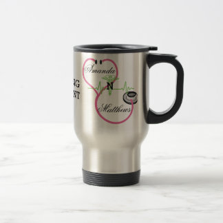 Pink Stethoscope Nursing Student Caduceus Name Travel Mug