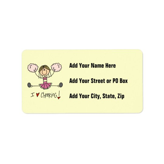 Pink Stick Figure Cheerleader T-shirts and Gifts Address Label