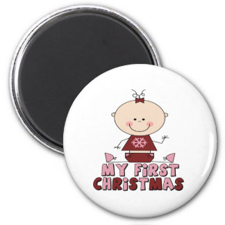 Pink Stick Figure Girl  First Christmas 6 Cm Round Magnet