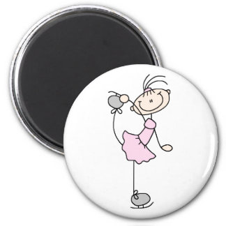 Pink Stick Figure Girl Skating Magnet