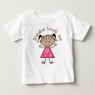 Pink Stick Girl Grandma Loves Me Baby T-Shirt