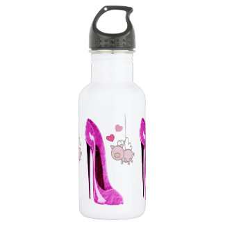 Pink Stiletto and Flying Pig Art 532 Ml Water Bottle