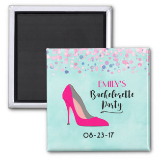 Pink Stiletto Heel Bachelorette Party Square Magnet