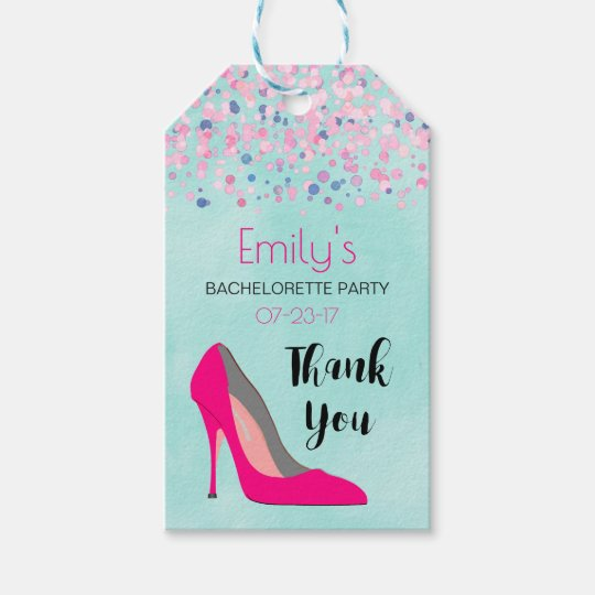 Pink Stiletto Heel Bachelorette Party Thank You Gift