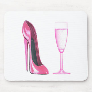 Pink Stiletto Shoe and Champagne Glass Mouse Mat