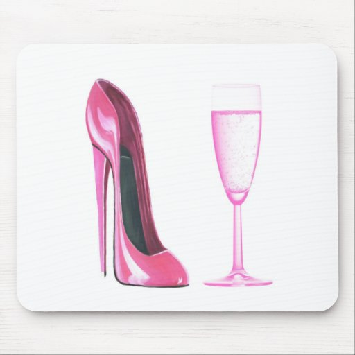 Pink Stiletto Shoe and Champagne Glass Mouse Mats
