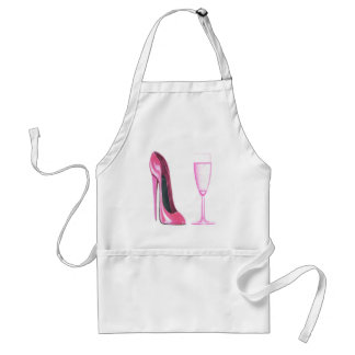 Pink Stiletto Shoe and Champagne Glass Standard Apron