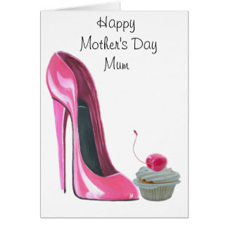 Pink Stiletto Shoe and Cherry Cupcake Greeting Card