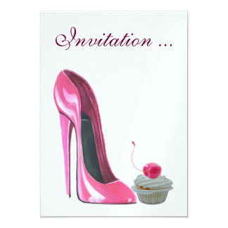 Pink Stiletto Shoe and Cherry Cupcake Invitation