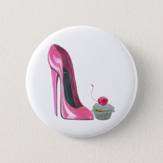 Pink Stiletto Shoe and Cupcake 6 Cm Round Badge