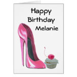 Pink Stiletto Shoe and Cupcake Greeting Card