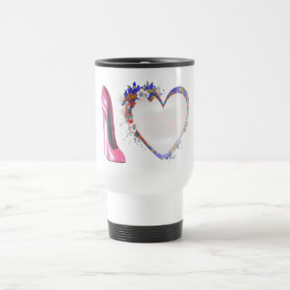 Pink Stiletto Shoe and Heart Gifts Travel Mug