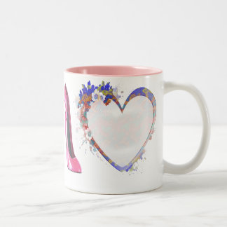 Pink Stiletto Shoe and Heart Gifts Two-Tone Coffee Mug