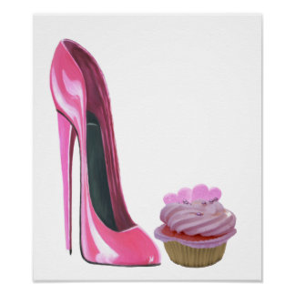 Pink Stiletto Shoe and Hearts Cupcake Poster