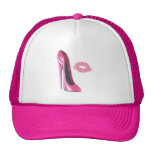 Pink Stiletto Shoe and Kiss Mesh Hat