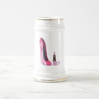 Pink Stiletto Shoe and Lipstick Art Beer Stein