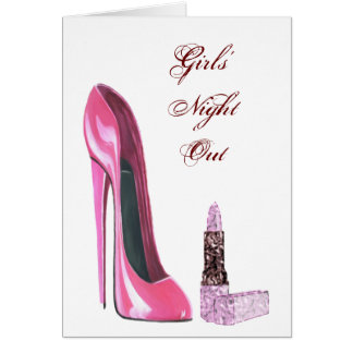 Pink Stiletto Shoe and Lipstick Art Card