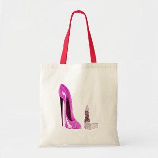Pink Stiletto Shoe and Lipstick Art Tote Bag