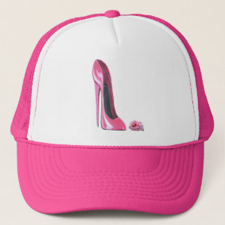 Pink Stiletto Shoe and Rose Trucker Hat