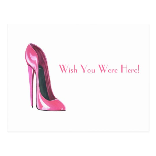 pink stiletto shoe postcard