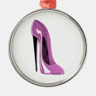 Pink stiletto shoe round Ornament