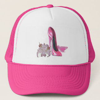 Pink Stiletto Shoes and Lilies Art Trucker Hat