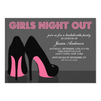 Pink Stiletto Shoes Girls Night Out Invites