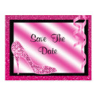 Pink Stiletto & Streamers Sweet 16 Save The Date Postcard