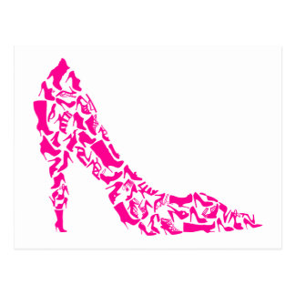 Pink stiletto with various shoe silhouettes postcard