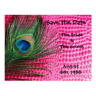 Pink Still Life Peacock Save the Date Postcard