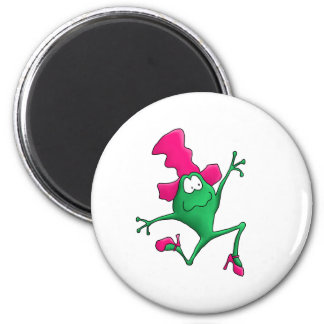 Pink Stilletto Happy Frog 6 Cm Round Magnet