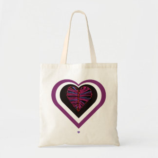 Pink Stitched Heart Tote Bag