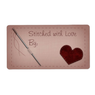 """Pink """"Stitched with Love"""" Sewing Gift Label Shipping Label"""