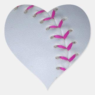 Pink Stitches Baseball / Softball Heart Sticker