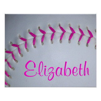 Pink Stitches Personalized Softball Poster