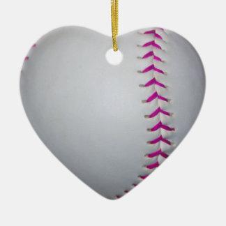 Pink Stitches Softball Christmas Ornament
