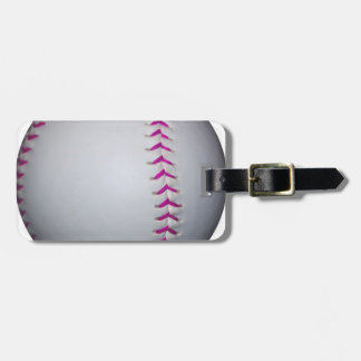 Pink Stitches Softball Luggage Tag