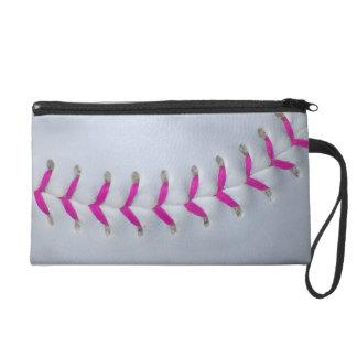 Pink Stitches Softball Wristlet