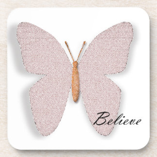 Pink Stone Believe Butterfly Drink Coasters