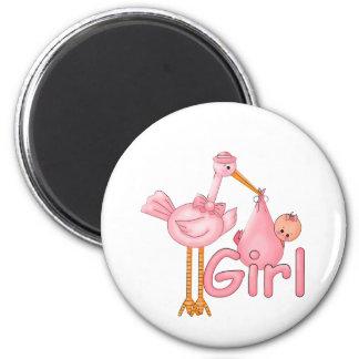 Pink Stork Baby Girl 6 Cm Round Magnet
