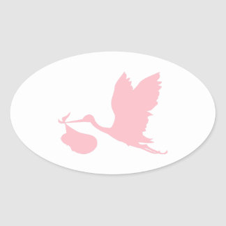 Pink Stork Oval Sticker