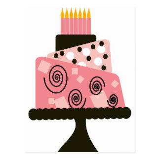 Pink Strange Birthday Cake Postcard