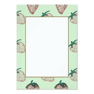 Pink Strawberries Tiled on Mint Green 13 Cm X 18 Cm Invitation Card