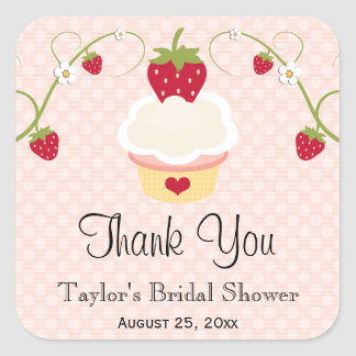 Pink Strawberry Cupcake Favor Labels Stickers