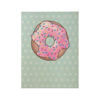 Pink Strawberry Donut Wood Poster