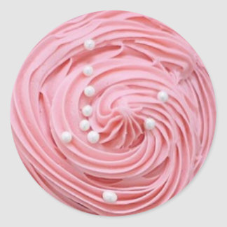 Pink Strawberry Frosted Cupcakes with Pearl Candy Classic Round Sticker