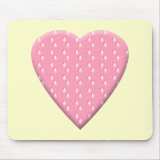Pink Strawberry Heart. Mouse Pad